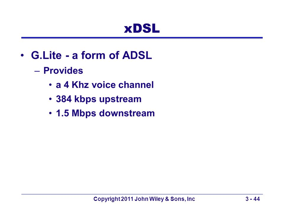 xDSL Copyright 2011 John Wiley & Sons, Inc3 - 44