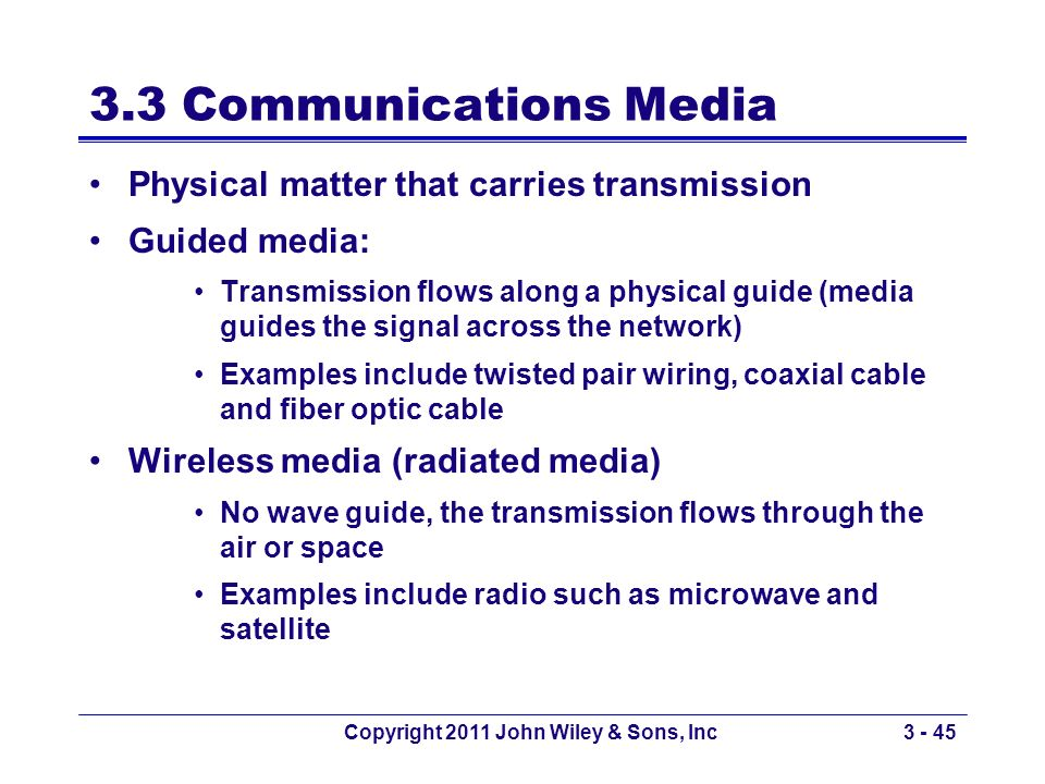 Copyright 2011 John Wiley & Sons, Inc3 - 45 3.3 Communications Media Physical matter that carries transmission Guided media: Transmission flows along