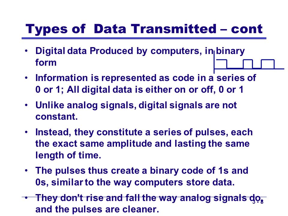 Copyright 2011 John Wiley & Sons, Inc3 - 9 Types of Data Transmitted – cont Analog transmissions –Analog data transmitted in analog form –Examples of analog data being sent using analog transmissions are broadcast TV and radio Digital transmissions –Made of discrete square waves with a clear beginning and ending –Computer networks send digital data using digital transmissions Data converted between analog and digital formats –Modem (modulator/demodulator): used when digital data is sent as an analog transmission –Codec (coder/decoder): used when analog data is sent via digital transmission