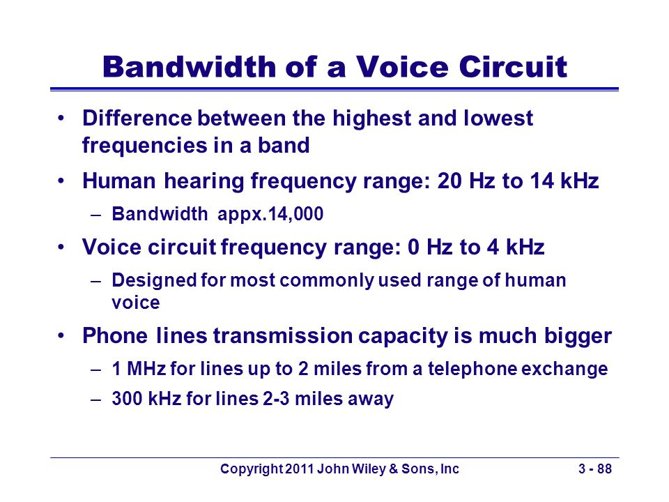 Copyright 2011 John Wiley & Sons, Inc3 - 88 Bandwidth of a Voice Circuit Difference between the highest and lowest frequencies in a band Human hearing