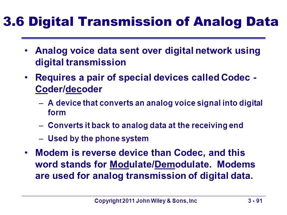 Copyright 2011 John Wiley & Sons, Inc3 - 91 3.6 Digital Transmission of Analog Data Analog voice data sent over digital network using digital transmis