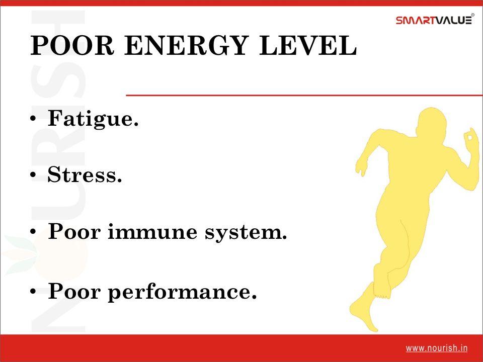 POOR ENERGY LEVEL Fatigue. Stress. Poor immune system. Poor performance.