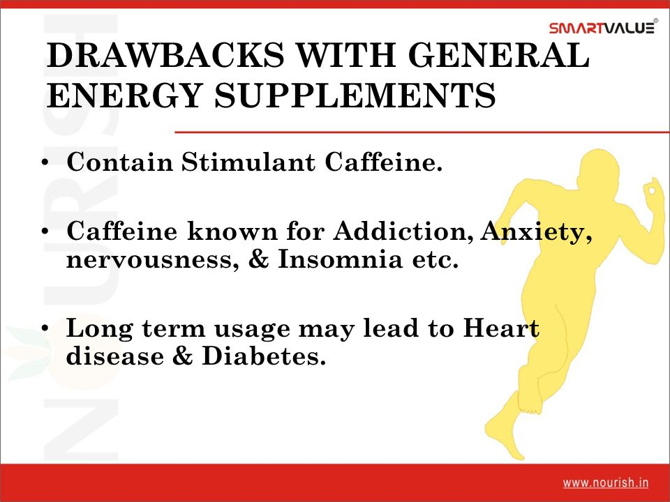 DRAWBACKS WITH GENERAL ENERGY SUPPLEMENTS Contain Stimulant Caffeine. Caffeine known for Addiction, Anxiety, nervousness, & Insomnia etc. Long term us