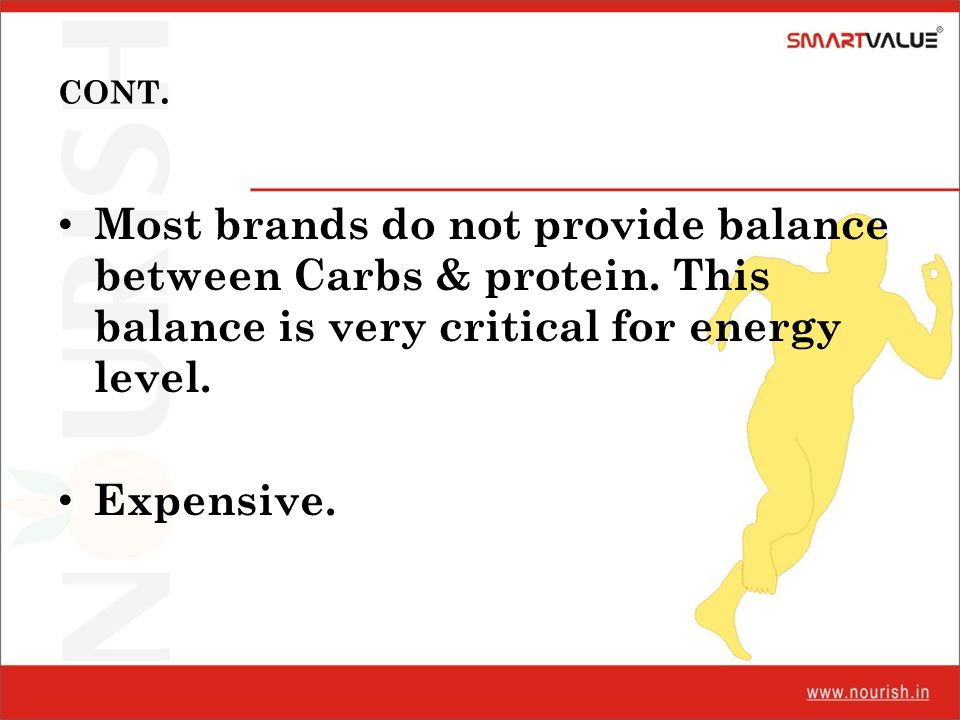 CONT. Most brands do not provide balance between Carbs & protein. This balance is very critical for energy level. Expensive.