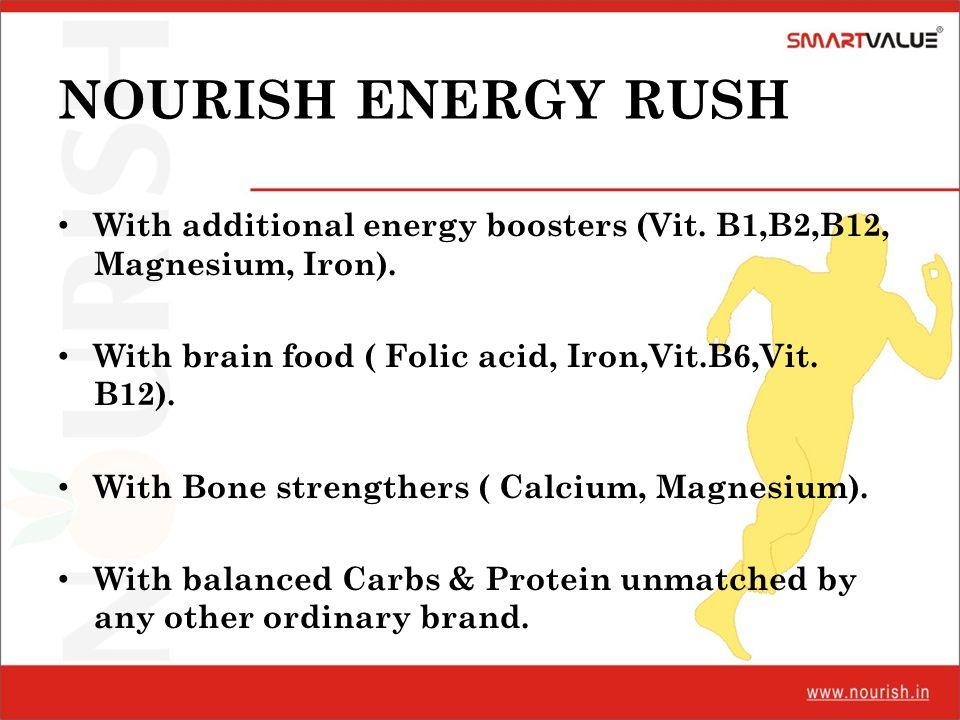 NOURISH ENERGY RUSH With additional energy boosters (Vit. B1,B2,B12, Magnesium, Iron). With brain food ( Folic acid, Iron,Vit.B6,Vit. B12). With Bone