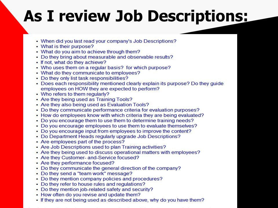 As I review Job Descriptions: