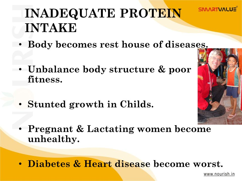 7 www.nourish.in INADEQUATE PROTEIN INTAKE Body becomes rest house of diseases. Unbalance body structure & poor fitness. Stunted growth in Childs. Pre
