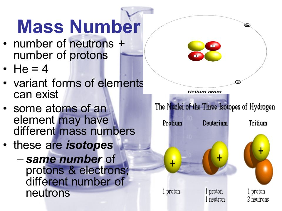 Mass Number number of neutrons + number of protons He = 4 variant forms of elements can exist some atoms of an element may have different mass numbers