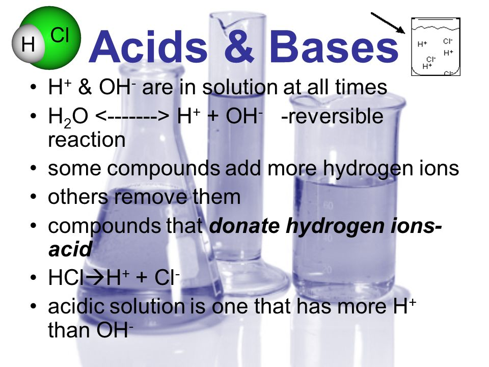 Acids & Bases H + & OH - are in solution at all times H 2 O <-------> H + + OH - -reversible reaction some compounds add more hydrogen ions others rem