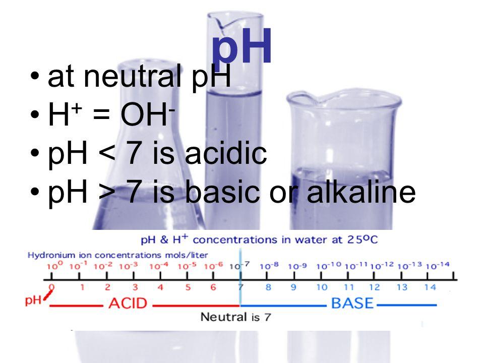 pH at neutral pH H + = OH - pH < 7 is acidic pH > 7 is basic or alkaline