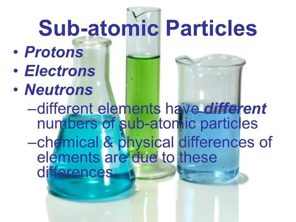 Sub-atomic Particles Protons Electrons Neutrons –different elements have different numbers of sub-atomic particles –chemical & physical differences of