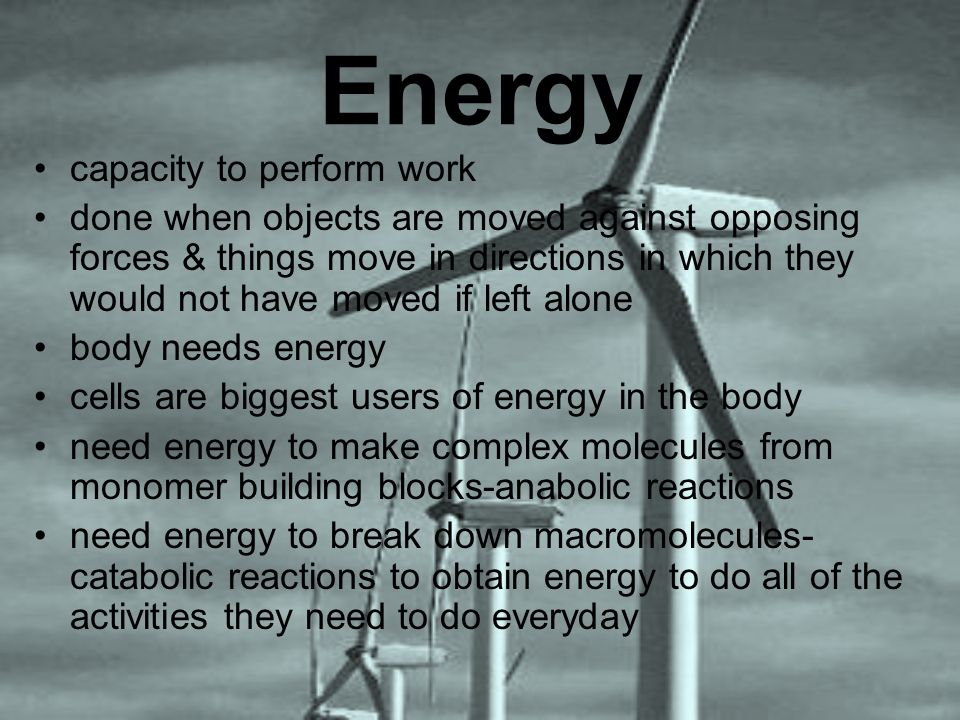 Energy capacity to perform work done when objects are moved against opposing forces & things move in directions in which they would not have moved if