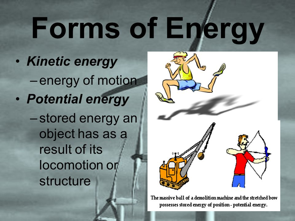 Forms of Energy Kinetic energy –energy of motion Potential energy –stored energy an object has as a result of its locomotion or structure