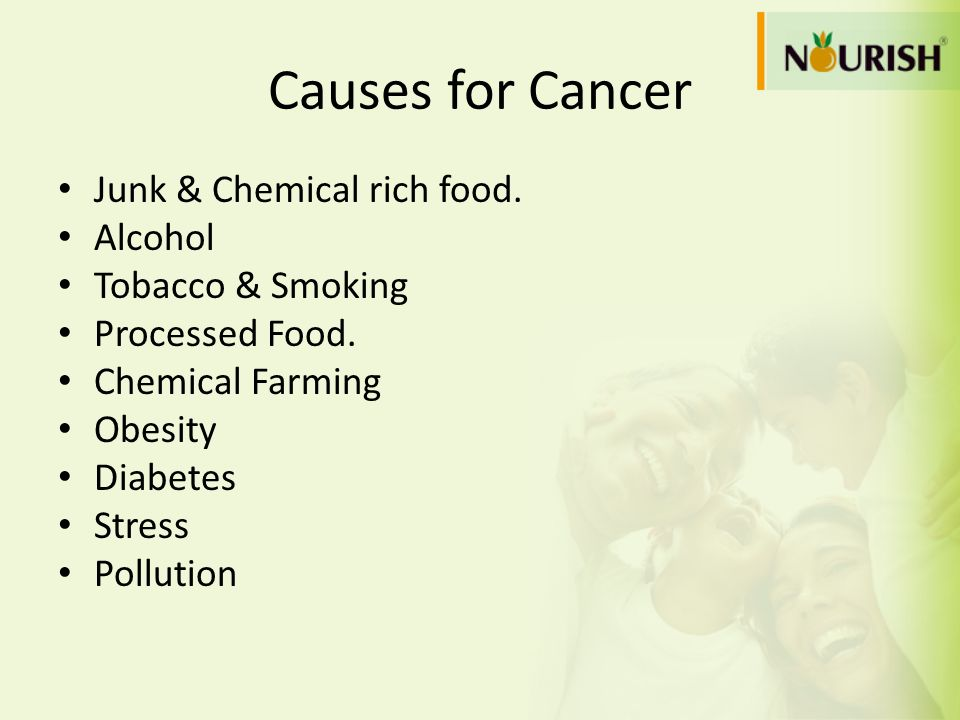 Causes for Cancer Junk & Chemical rich food. Alcohol Tobacco & Smoking Processed Food. Chemical Farming Obesity Diabetes Stress Pollution