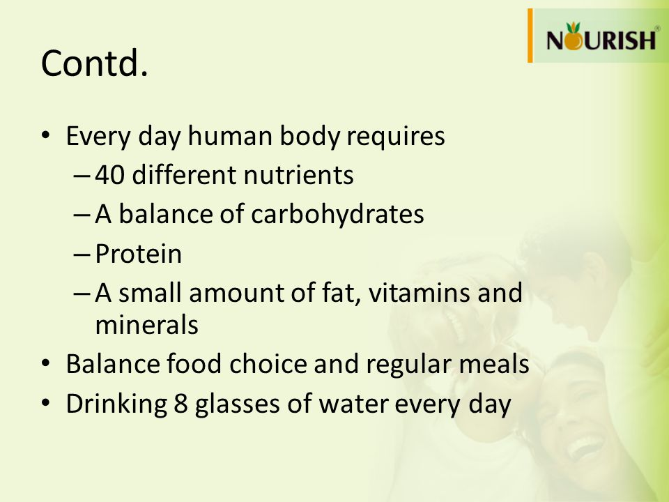 Contd. Every day human body requires – 40 different nutrients – A balance of carbohydrates – Protein – A small amount of fat, vitamins and minerals Ba
