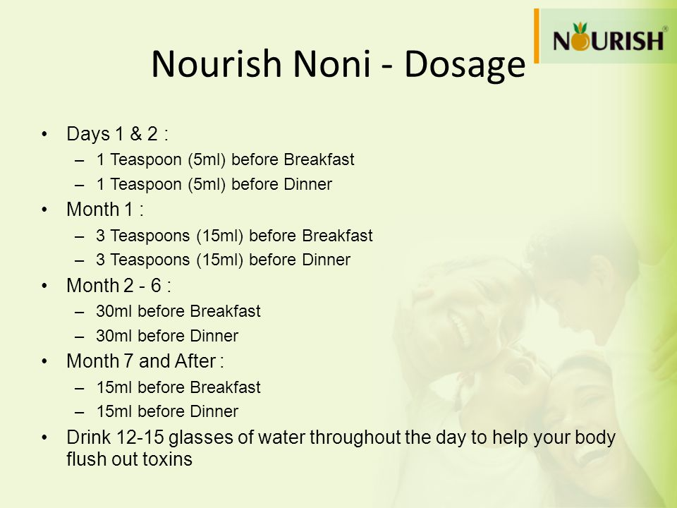 Nourish Noni - Dosage Days 1 & 2 : –1 Teaspoon (5ml) before Breakfast –1 Teaspoon (5ml) before Dinner Month 1 : –3 Teaspoons (15ml) before Breakfast –