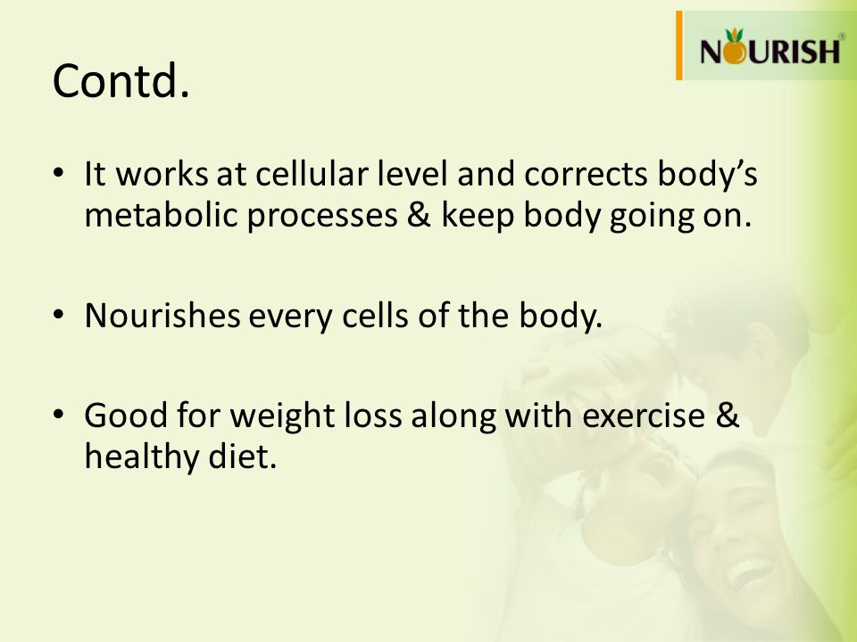 Contd. It works at cellular level and corrects bodys metabolic processes & keep body going on. Nourishes every cells of the body. Good for weight loss