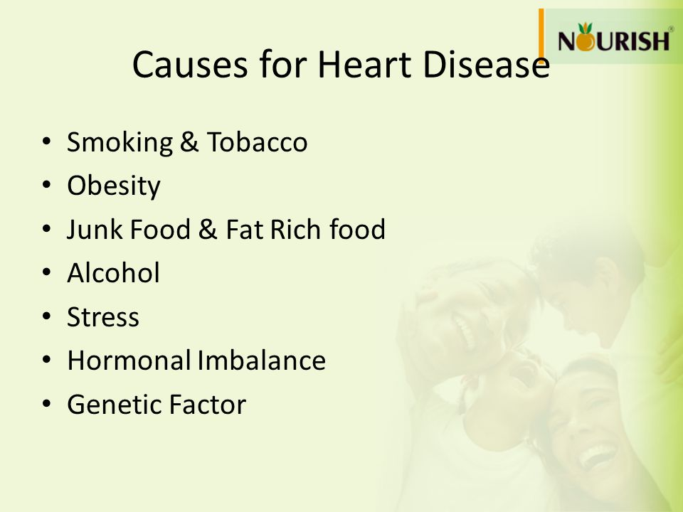 Causes for Heart Disease Smoking & Tobacco Obesity Junk Food & Fat Rich food Alcohol Stress Hormonal Imbalance Genetic Factor