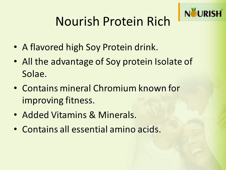 A flavored high Soy Protein drink. All the advantage of Soy protein Isolate of Solae. Contains mineral Chromium known for improving fitness. Added Vit