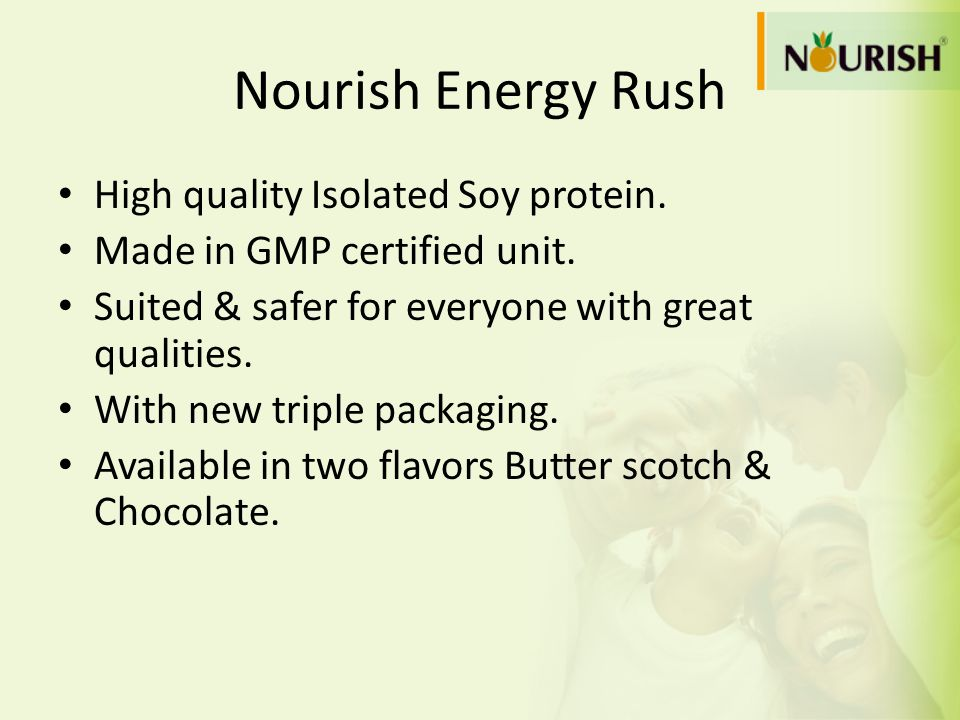 Nourish Energy Rush High quality Isolated Soy protein. Made in GMP certified unit. Suited & safer for everyone with great qualities. With new triple p