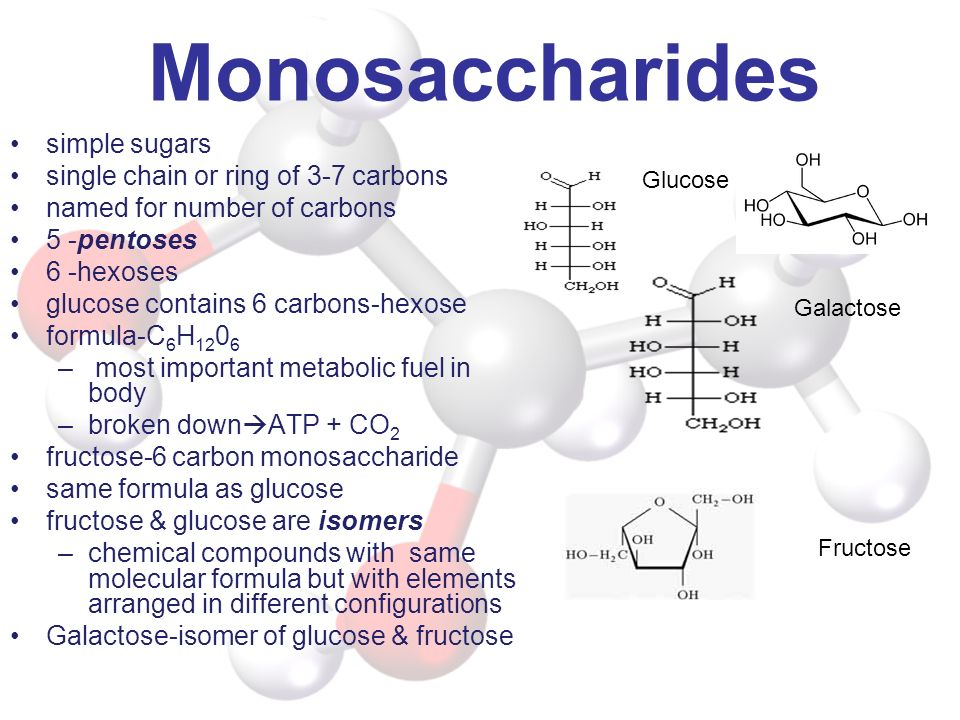 Monosaccharides simple sugars single chain or ring of 3-7 carbons named for number of carbons 5 -pentoses 6 -hexoses glucose contains 6 carbons-hexose