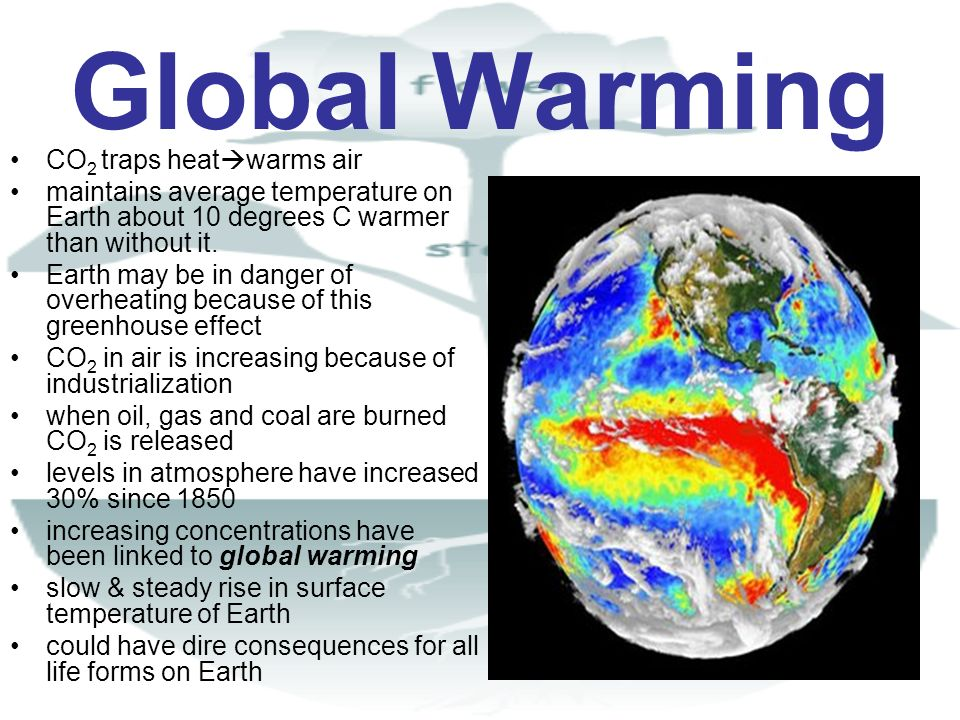 Global Warming CO 2 traps heat warms air maintains average temperature on Earth about 10 degrees C warmer than without it. Earth may be in danger of o