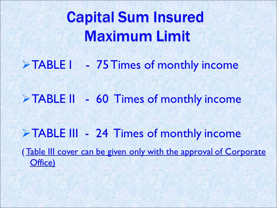 Capital Sum Insured Maximum Limit TABLE I - 75 Times of monthly income TABLE II - 60 Times of monthly income TABLE III - 24 Times of monthly income ( Table III cover can be given only with the approval of Corporate Office)