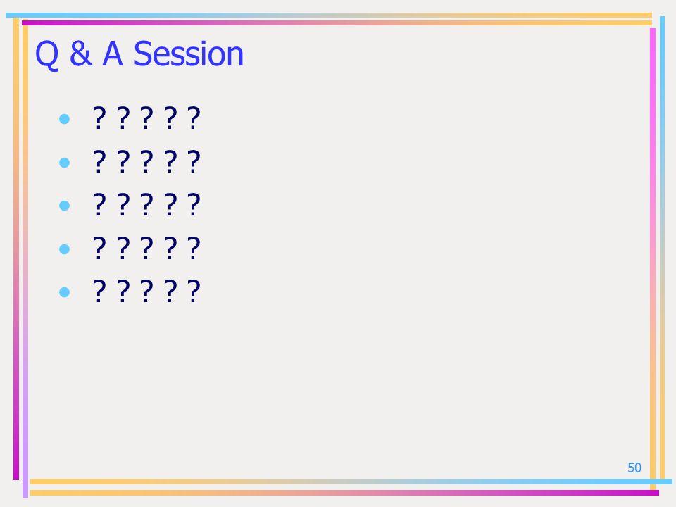 50 Q & A Session ? ? ? ? ?