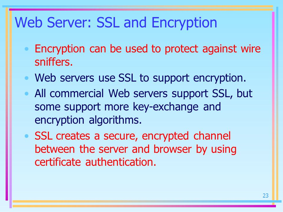 Web Server: SSL and Encryption Encryption can be used to protect against wire sniffers. Web servers use SSL to support encryption. All commercial Web