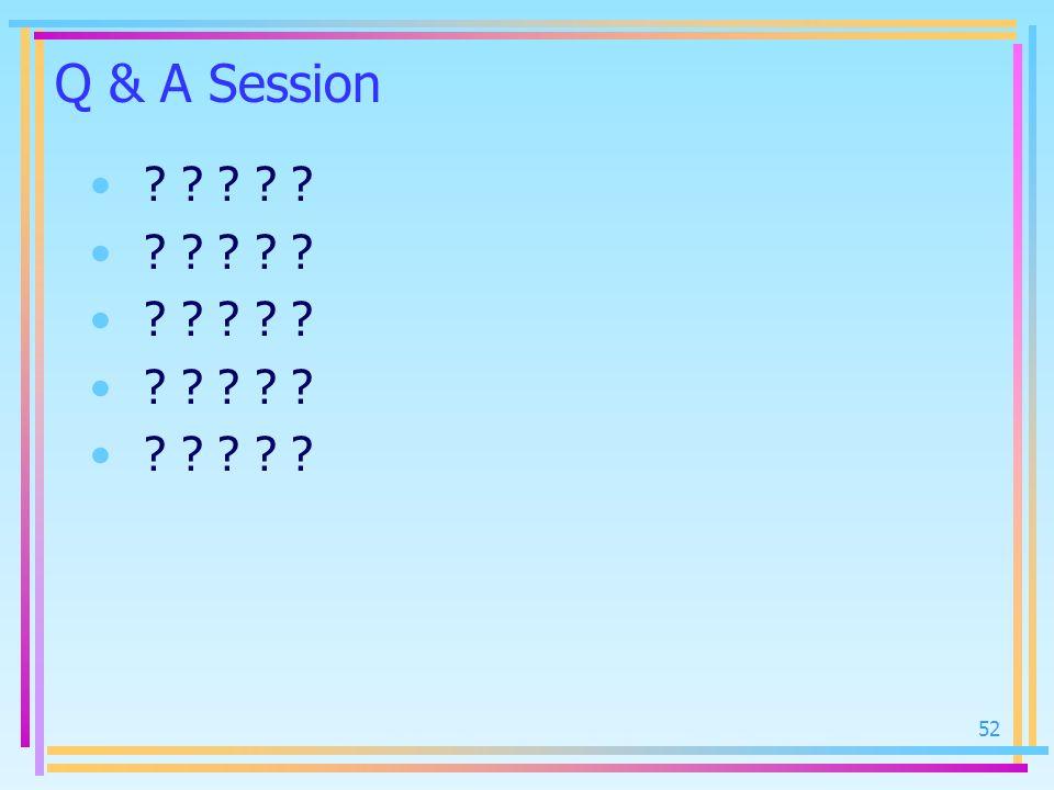 52 Q & A Session ? ? ? ? ?