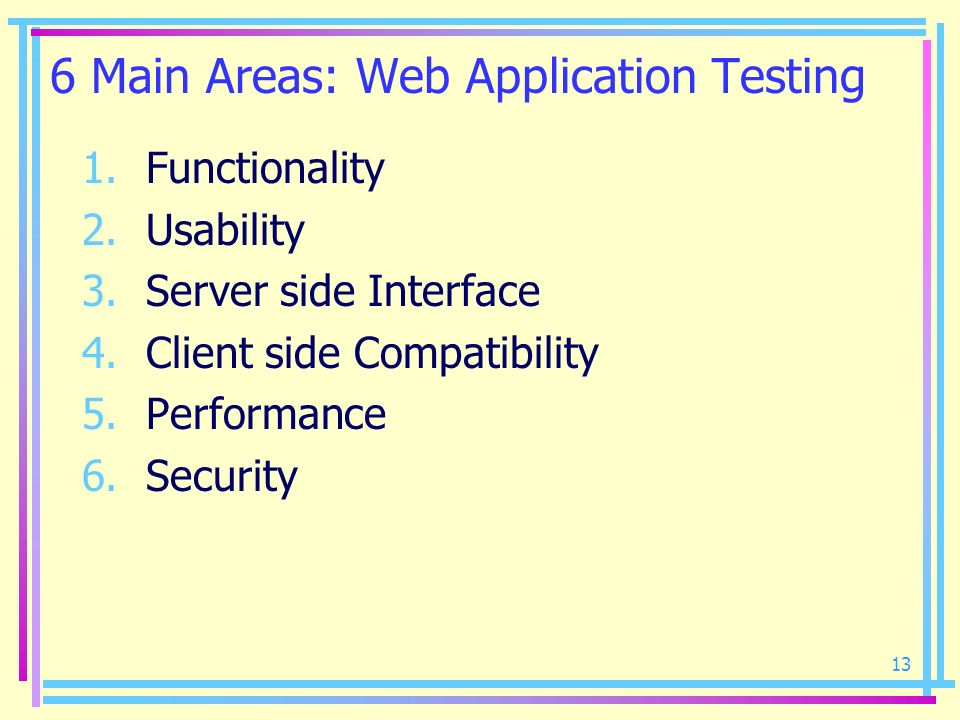 13 6 Main Areas: Web Application Testing 1.Functionality 2.Usability 3.Server side Interface 4.Client side Compatibility 5.Performance 6.Security