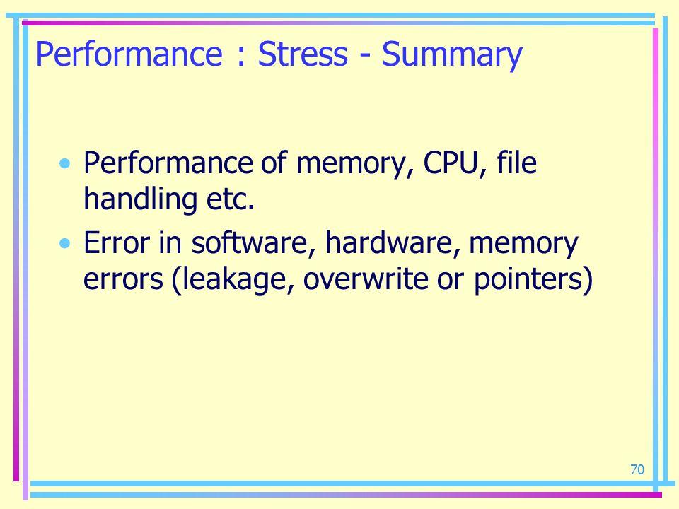 70 Performance : Stress - Summary Performance of memory, CPU, file handling etc. Error in software, hardware, memory errors (leakage, overwrite or poi