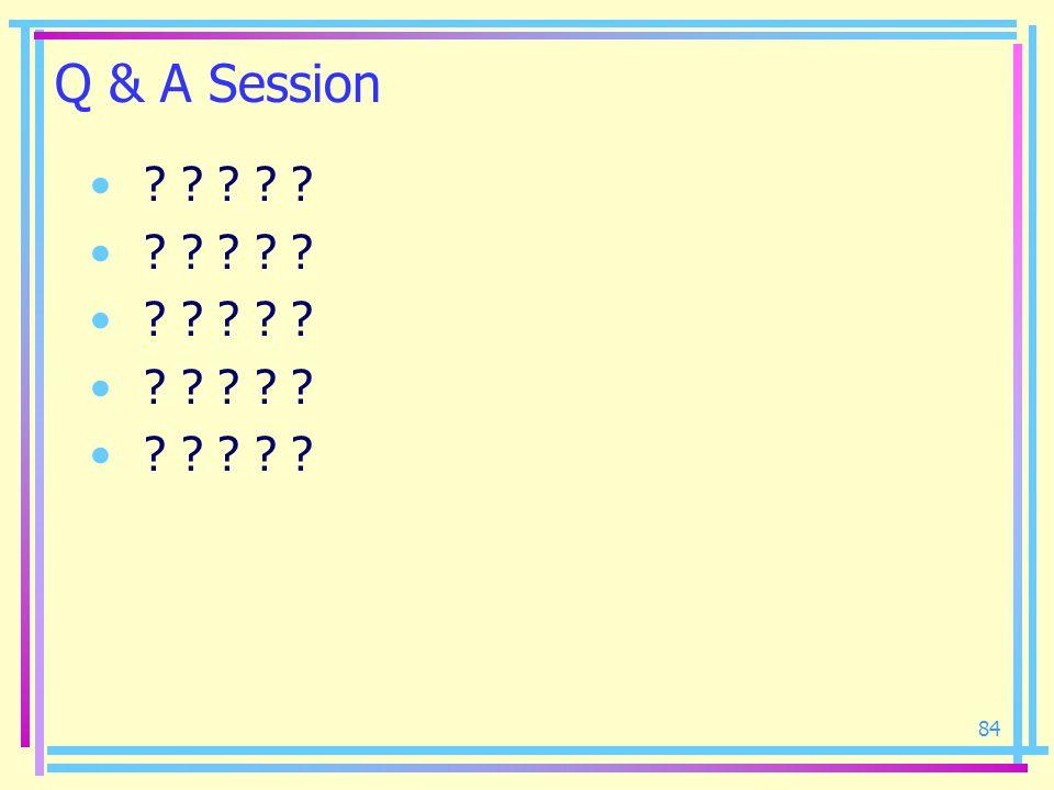 84 Q & A Session ? ? ? ? ?