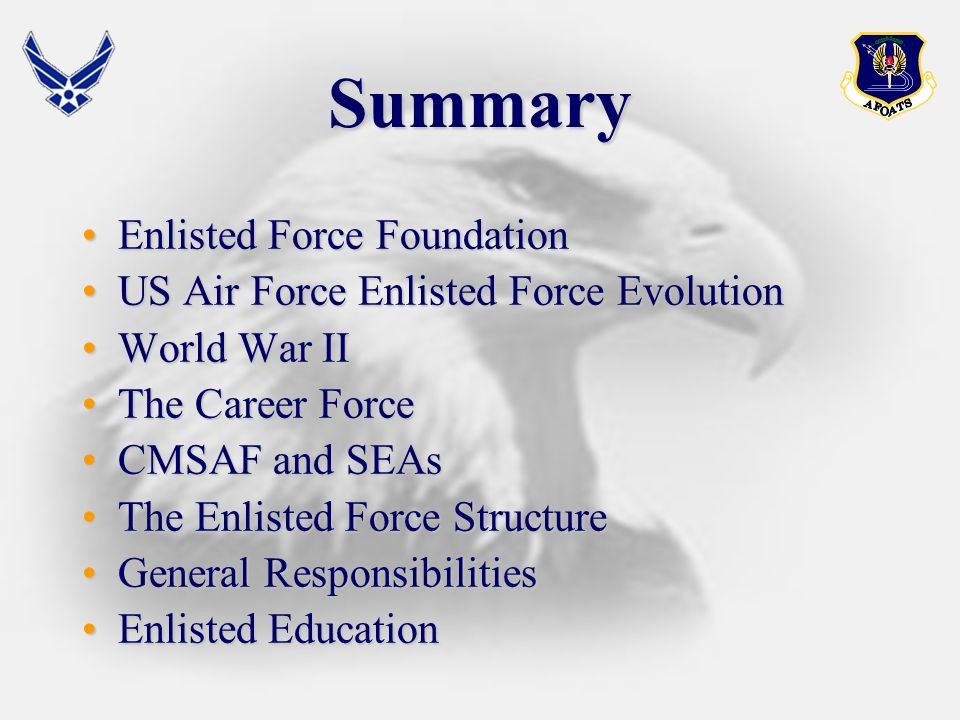 Enlisted Education The College for Enlisted PMEThe College for Enlisted PME ALSALS NCOANCOA AFSNCOAAFSNCOA Civilian Education/CCAFCivilian Education/CCAF
