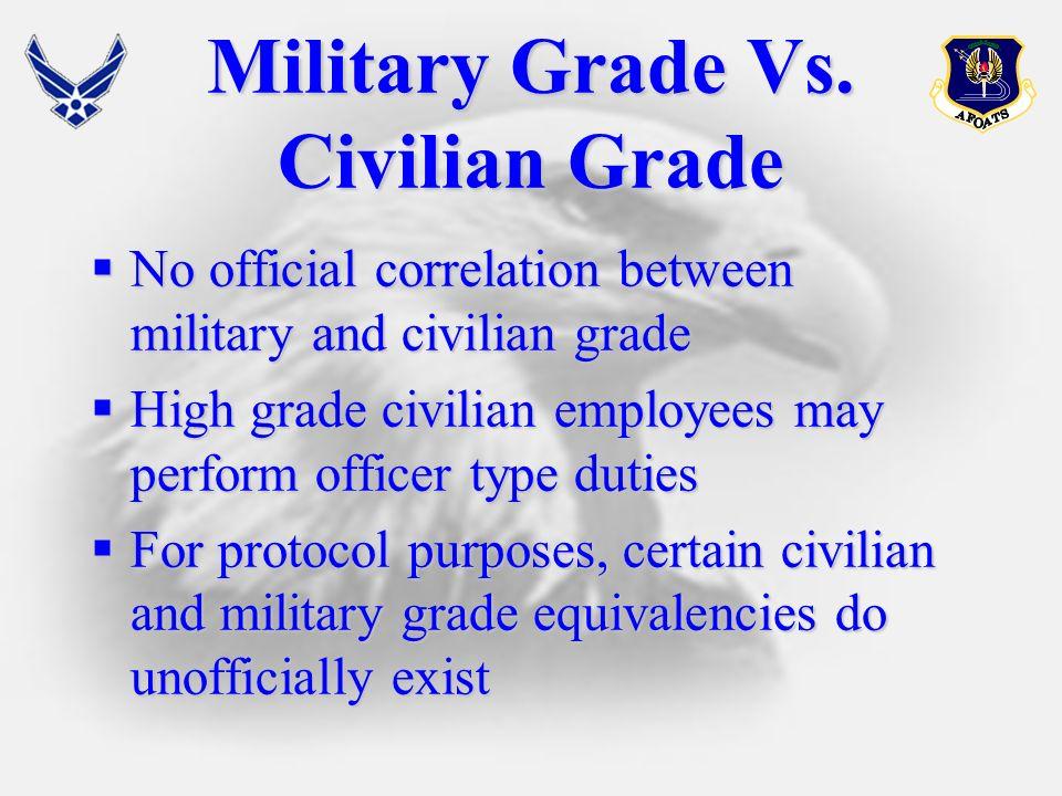 Military Grade Vs. Civilian Grade No official correlation between military and civilian grade No official correlation between military and civilian gr