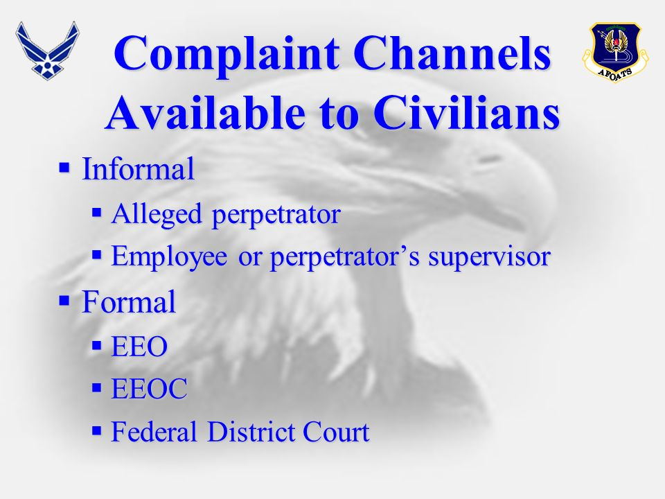 Complaint Channels Available to Civilians Informal Informal Alleged perpetrator Alleged perpetrator Employee or perpetrators supervisor Employee or perpetrators supervisor Formal Formal EEO EEO EEOC EEOC Federal District Court Federal District Court