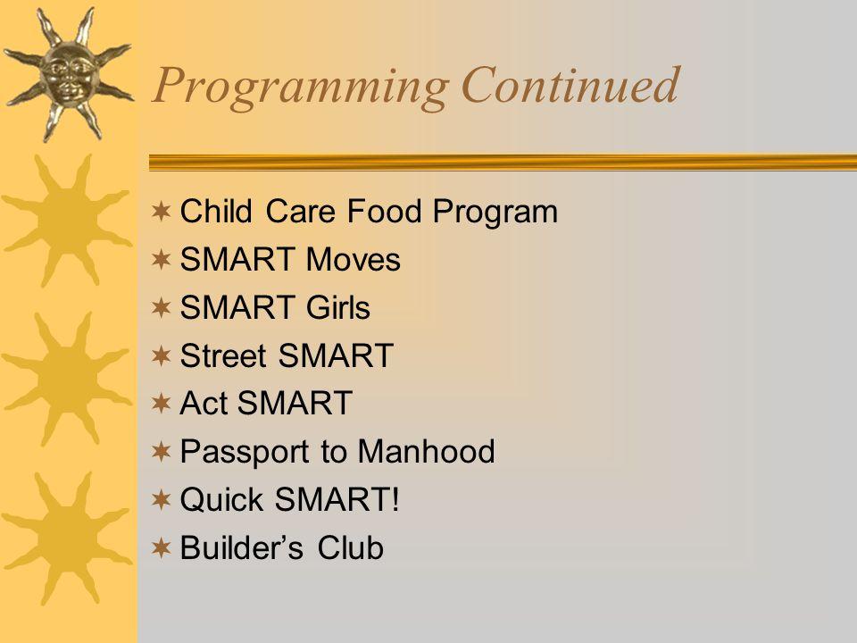 Programming Continued Child Care Food Program SMART Moves SMART Girls Street SMART Act SMART Passport to Manhood Quick SMART! Builders Club