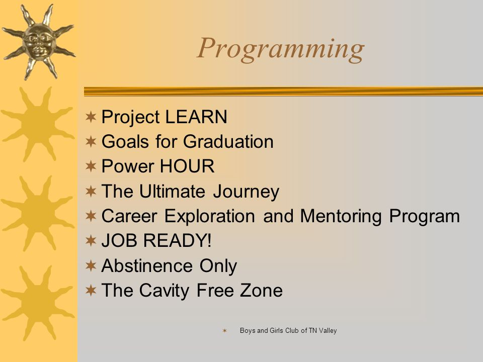 Programming Project LEARN Goals for Graduation Power HOUR The Ultimate Journey Career Exploration and Mentoring Program JOB READY! Abstinence Only The