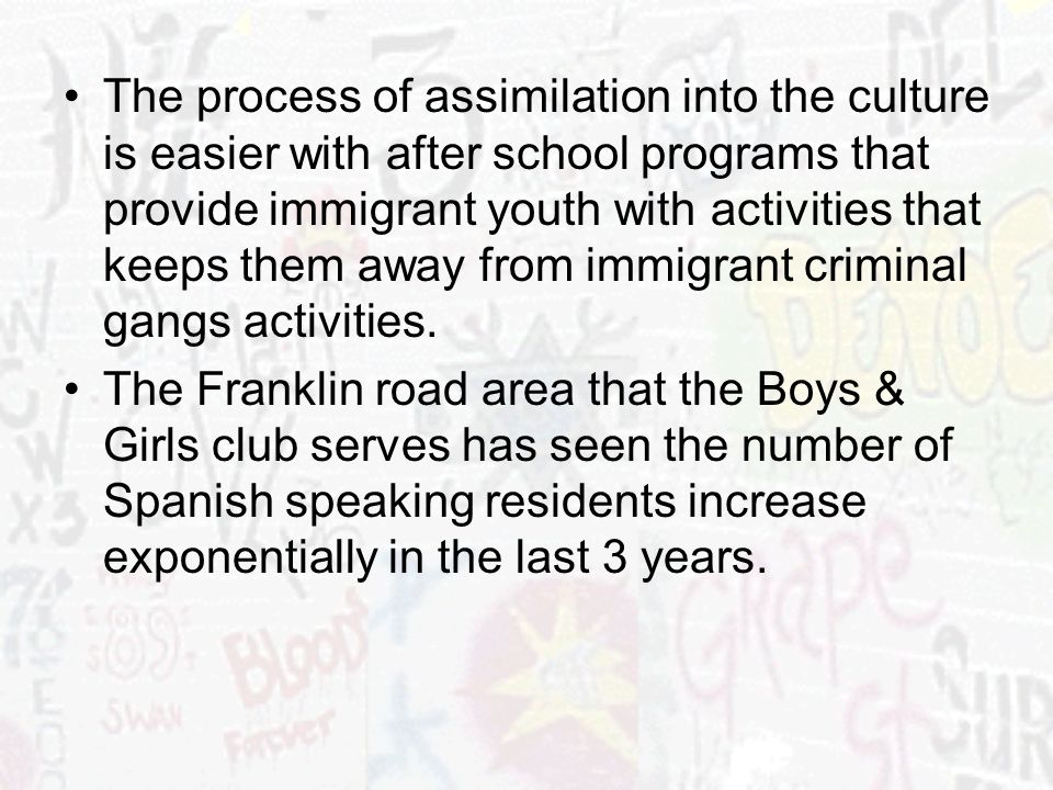 The process of assimilation into the culture is easier with after school programs that provide immigrant youth with activities that keeps them away fr