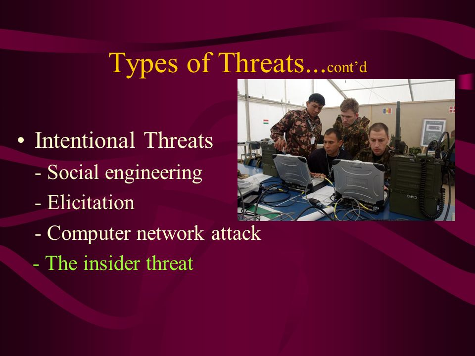 Types of Threats... contd Intentional Threats - Social engineering - Elicitation - Computer network attack - The insider threat