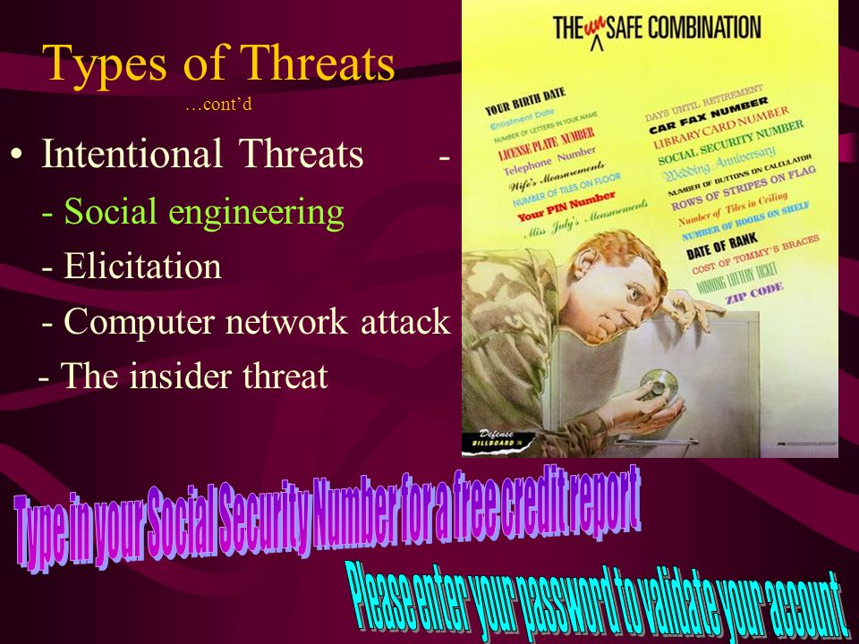 Types of Threats …contd Intentional Threats - - Social engineering - Elicitation - Computer network attack - The insider threat