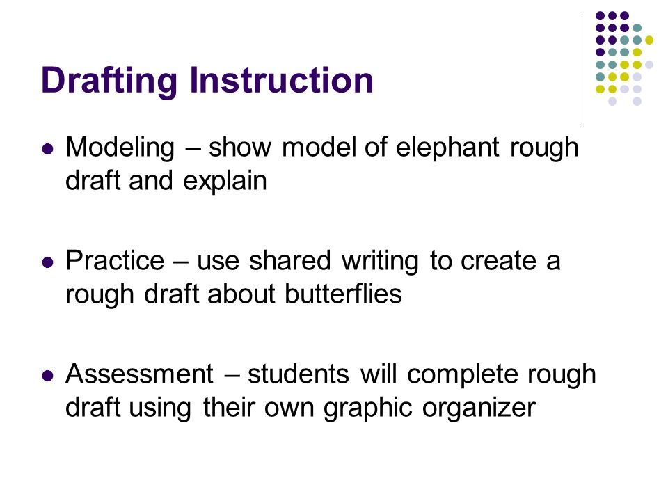 Drafting Instruction Modeling – show model of elephant rough draft and explain Practice – use shared writing to create a rough draft about butterflies