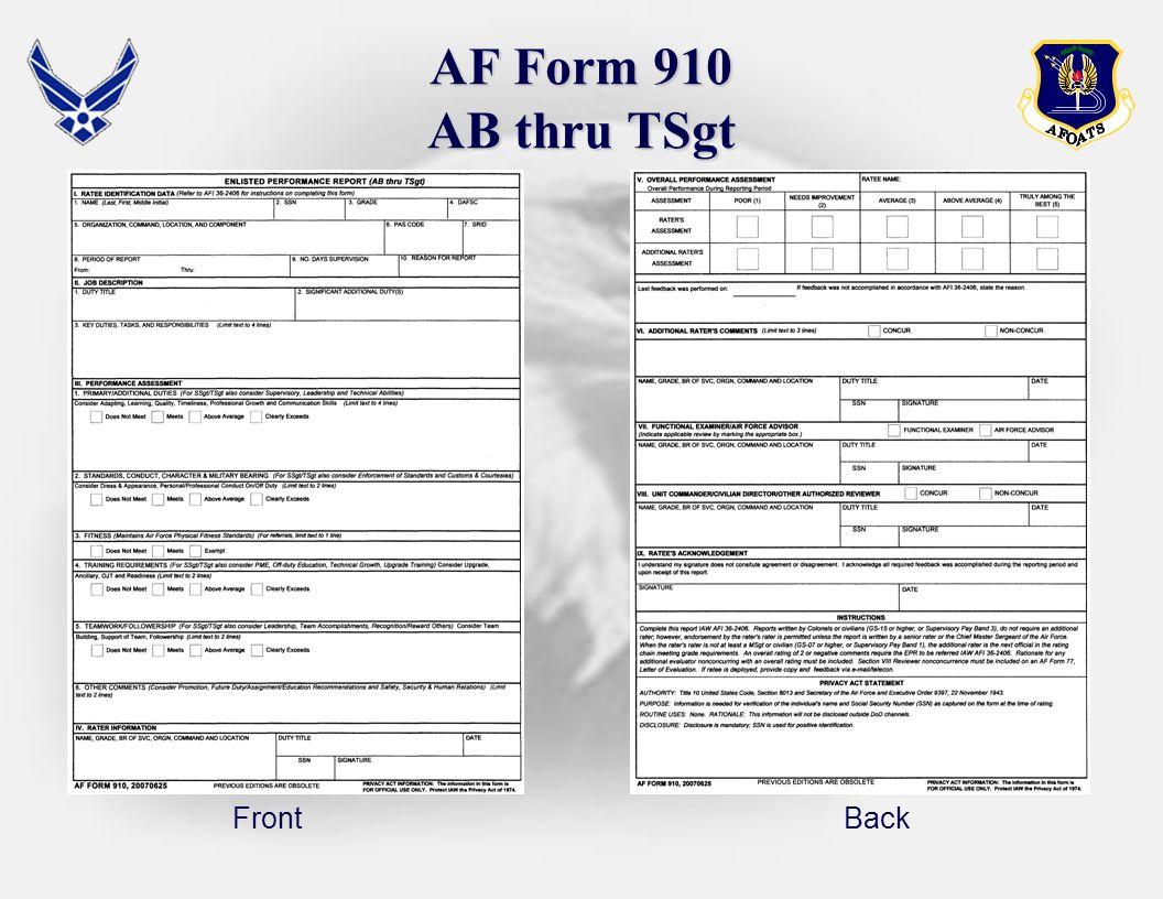 Download Fillable AF Form 910 - Air Force Member