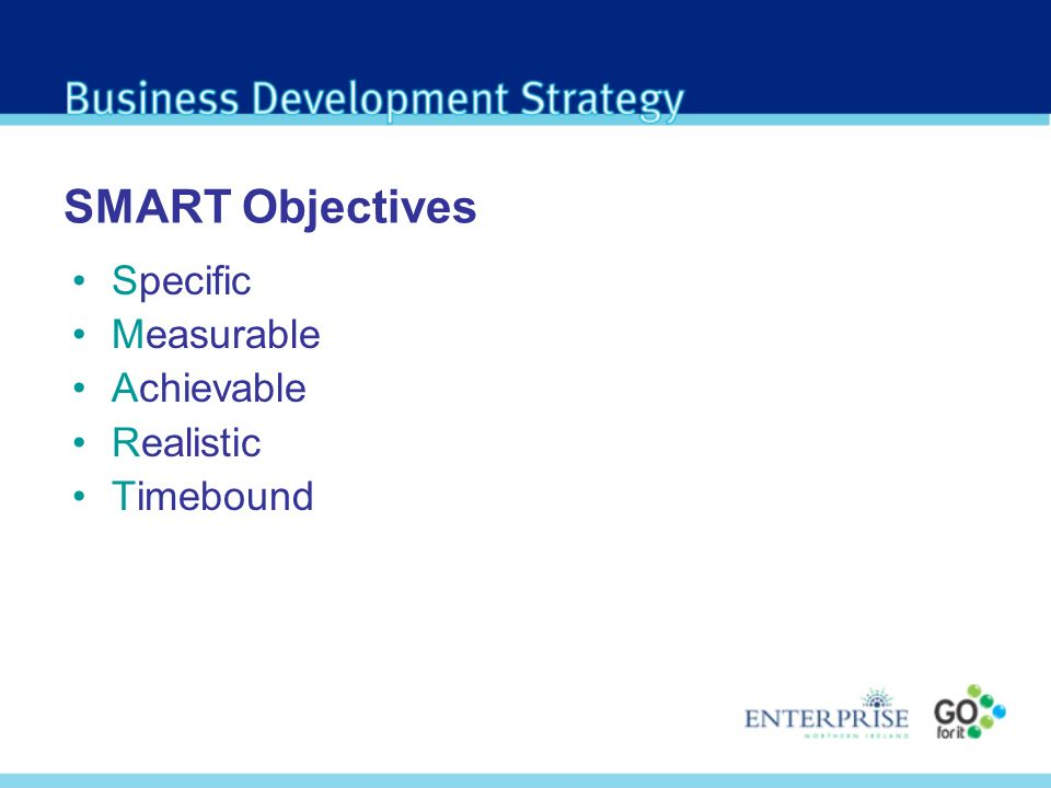 SMART Objectives Specific Measurable Achievable Realistic Timebound