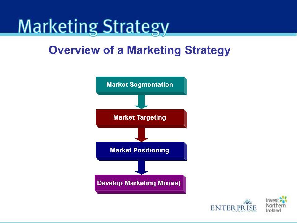 Market Segmentation Overview of a Marketing Strategy Market Targeting Market Positioning Develop Marketing Mix(es)