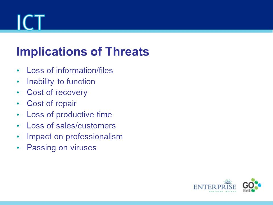Implications of Threats Loss of information/files Inability to function Cost of recovery Cost of repair Loss of productive time Loss of sales/customers Impact on professionalism Passing on viruses