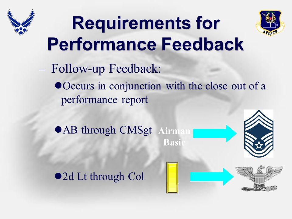– Follow-up Feedback: Occurs in conjunction with the close out of a performance report AB through CMSgt 2d Lt through Col Requirements for Performance