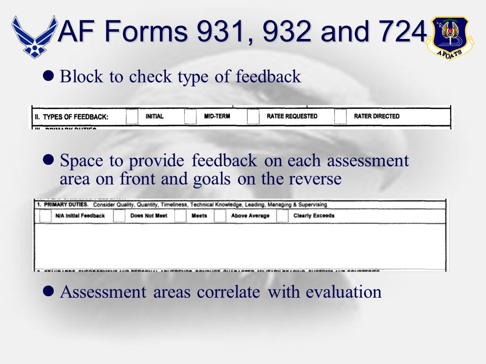 AF Forms 931, 932 and 724 Block to check type of feedback Space to provide feedback on each assessment area on front and goals on the reverse Assessme