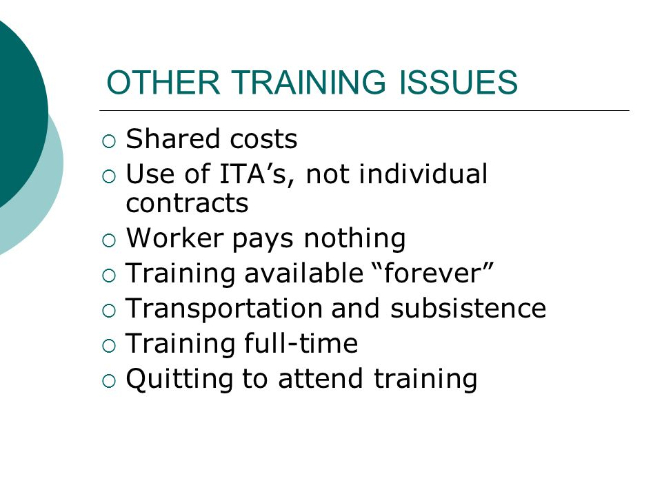 OTHER TRAINING ISSUES Shared costs Use of ITAs, not individual contracts Worker pays nothing Training available forever Transportation and subsistence