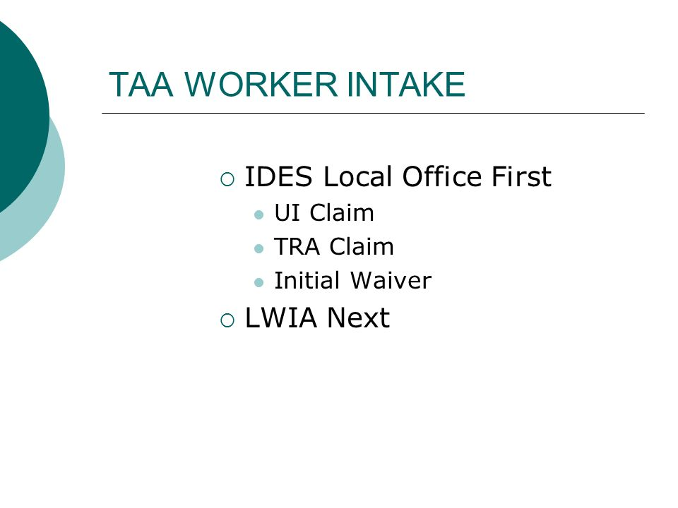 TAA WORKER INTAKE IDES Local Office First UI Claim TRA Claim Initial Waiver LWIA Next